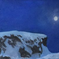 694: Full Moon Stageline Ranch Series  13x27  Oil on canvas panel