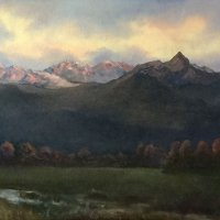 695:  Mountain Evening  18x32  Oil on canvas panel